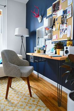 9 Ways to Make All Your Clutter Look Gorgeous Without Throwing Anything Out: GO LONG AND NARROW. A skinny table or even a shelf will work, especially with a chair that fits in with the rest of the room. And if you don't have much space to go out, you can always go up. A bulletin board can hold reminders—and pretty postcards you'd just pile in a free drawer (if you had one!).