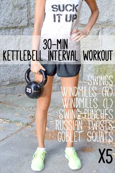 30-Minute Kettlebell Interval Workout: set a timer for 30 rounds of 40sec work / 20sec rest and go through a circuit of swings, windmills, swing punches, russian twists and goblet squats 5 times.