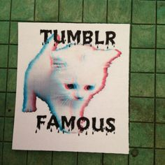 New Sticker :)  Tumblr Famous  CAT STICKER by TheEscapistArtist on Etsy