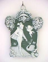 Jasperware Jasper Ware Plaque with Swans and Minstrel Angel