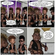 Punksters.net punk rock comic strip number 42: I got the idea for this comic strip after hearing how many people working for the I.R.S. actually owe back taxes.  #comic #irs #taxes