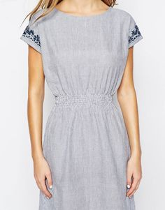 People Tree Stripe Dress with Embroidery Details