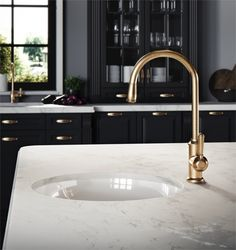 Winslow kitchen mixer with dual function pull-out spray in Brushed Nordic Brass PVD. Kitchen Mixer, Kitchen Taps, Kitchen Dining, Kitchen Appliances, Kitchens, Livable Sheds, Bathroom Tapware, Brass Tap, Grand Designs