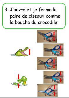 I open and close the scissors as the mouth of the crocodile...translated! Good pictorial for kids to look at.
