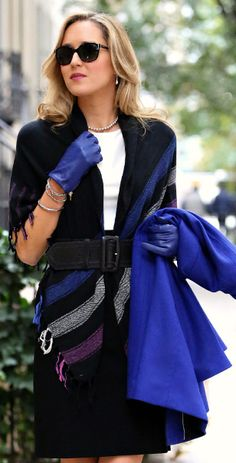 This is an amazing look that makes use of royal blue, a color that is in this season!