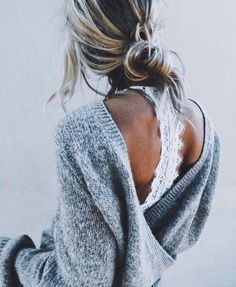 Lace bralette and backless chunky sweater, Alaska Style.