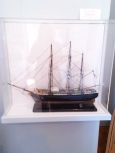 "Model Bark ""Avola"" of Boston. Photo taken 2014 in the Fishing Gallery at Atwood House Museum, Chatham, MA. #fishing, #ship, #model, #chatham, #chathamhistoricalsociety, #atwoodhouse, #capecod"