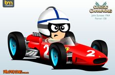 Surtees 1964 Formula 1, Caricatures, Car Posters, F 1, Motogp, Custom Cars, Nascar, Hot Wheels, Creative Art
