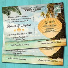 Personalised Beach Evening Wedding Invitations & Envelopes *Tropical Postcard