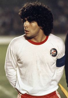 Diego Maradona of Argentinos Juniors during a football match between Argentinos and Guadalajara in Buenos Aires circa 1980