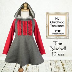 Girls dress pattern, easy sewing PDF pattern,  childrens sewing pattern, baby sewing pattern, The Bluebell Dress
