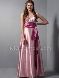A-Line Sheath / Column Halter V-Neck Long / Floor-Length Elastic Silk-like Satin Bridesmaid Dress
