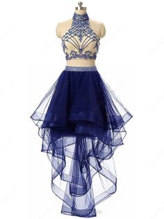 Black A-line High Neck Lace Tulle Asymmetrical Beading Open Back Two Piece Stunning Prom Dresses