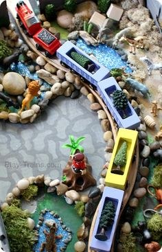 DIY Zoo Set for Wooden Trains @ Play Trains! Our train twist on the Jungle Diorama from Jo-ann's Cape Discovery summer crafting challenge. #...