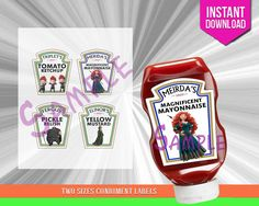 Disney Brave Condiment Bottle Labels, Birthday Party Decoration, Merida…