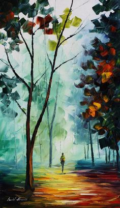 Original Recreation Oil Painting on Canvas  This is the best possible quality of recreation made by Leonid Afremov in person.    Title: Golden