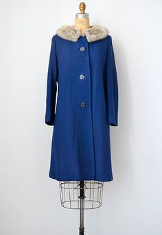 vintage 1960s blue wool coat with faux fur collar