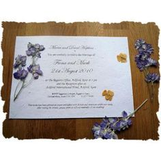 An invite made from seeded paper, created by Wildflower Favours.