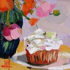 "Daily Paintworks - ""Coconut Cupcake Painting"" - Original Fine Art for Sale - © Angela Moulton Cupcake Painting, Cupcake Art, Yellow Art, Mellow Yellow, Joy Art, Coconut Cupcakes, Still Life Oil Painting, Original Art For Sale, Kitchen Art"