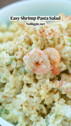 Shrimp Salad, Shrimp Pasta, Pasta Salad Recipes, Seafood Recipes, Summer Side Dishes, Healthy Recipes, Healthy Foods, Pasta Dishes, Favorite Recipes