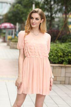 Sweet Pink Polyester Women's Dress