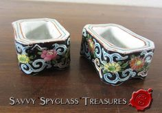 TWO Chinese Porcelain Open Salt Dips Lily Pot Dishes