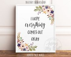 I Hope Everything Comes Out Okay, Funny Bathroom Print, Funny Bathroom Quote, Funny Toilet Wall Art, Bathroom Printable, Bathroom Wall Art