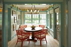 love the colors.  the walls are painted to match the shades.