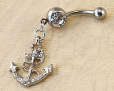 Anchor Belly Button Rings, anchor belly button Jewelry, white crystal belly ring, navy ring,nautical jewelry