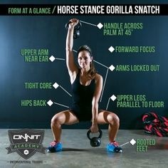 The Kettlebell Horse Stance Gorilla Snatch is an extremely challenging drill that requires full body strength during every step of the exercise.