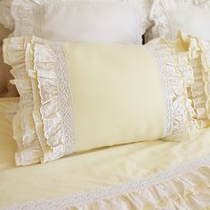Share this page with others and get 10% off! Lace Love Pillow Sham, Light Yellow