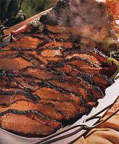 Barbecued Texas Beef Brisket by Bon Appétit Crock Pot Slow Cooker, Crock Pot Cooking, Slow Cooker Recipes, Cooking Recipes, Smoker Cooking, Food Smoker, Cooking Brisket, Beef Brisket Recipes, Bbq Beef