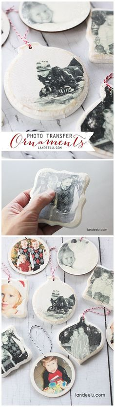Photo Transfer Christmas Tree Ornaments DIY Step by Step Tutorial - So easy and such wonderful keepsakes!