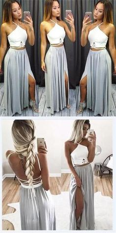 Backless Grey Prom Dress, Long Prom Dresses, Two Piece Prom Dress Split Prom Dresses, Grey Prom Dress, Hoco Dresses, Cheap Prom Dresses, Dance Dresses, Simple Dresses, Pretty Dresses, Beautiful Dresses, Evening Dresses