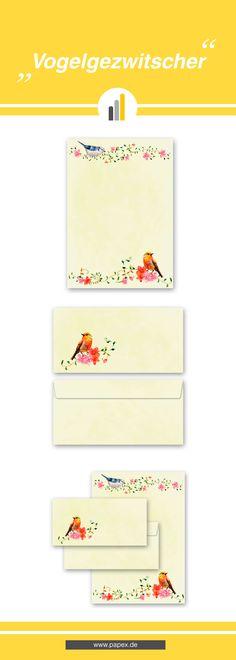 Briefpapier / Motivpapier VOGELGEZWITSCHER - Papier und Briefumschläge passend zum Thema Tiere und Vögel.