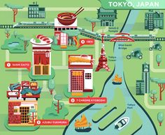 Food Maps for Delta Sky on Behance Travel Around The World, Around The Worlds, North Asia, Food Map, Tokyo Tower, Travel Illustration, Game Design, Vintage Posters, Crushes