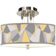 "Giclee Gallery Modern Mosaic II Giclee 14"" Wide Ceiling Light (1,185 CNY) ❤ liked on Polyvore featuring home, lighting, ceiling lights, close to ceiling lights, yellow, yellow shades, mosaic lighting, yellow shade, modern hanging lights and cord lights"