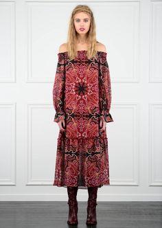 '70s Oriental rug motifs prints at Rachel Zoe Pre-Fall 2016. Styling Tip: Wear it under a mono coat or jacket.