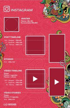 Guia completo de tamanhos de imagens e vídeos para Redes Sociais em 2018 - Instagram Social Media Images, Social Media Design, Social Media Cheat Sheet, Graphic Design Lessons, Digital Marketing Business, Web Design, Instagram Banner, Instagram Marketing Tips, Story Instagram