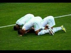 Algerian players kiss the ground after taking a lead over Belgium Brazil World Cup, Thing 1, Belgium, Soccer, Football, Goals, Celebrities, Sports, Islamic Wallpaper