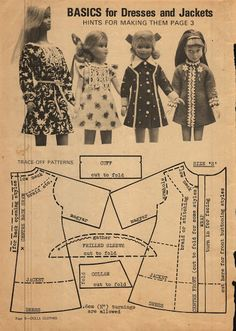 Enid Gilchrist's Dolls Clotheslots of patterns for different size dolls. Basic stuff that can be altered and adapted