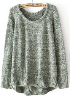 Green Plain Irregular Collarless Loose Cotton Blend Sweater