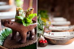 I found these extraordinary frog dishes for the appetizer. They made a charming and memorable presentation. Locally crafted platters made for beautiful presentation plates. The centerpieces are all greens and blooms from the property.