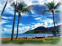 Title: Kauai Beach and Palms. Artist: Joan Minchak. Medium: #Photograph - Photo Illustration
