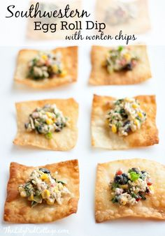 Southwestern Egg Roll Dip – Big Game Appetizers and Giveaway - Favorite Recipes - yum! Wonton Chips, Yummy Appetizers, Appetizer Recipes, Snack Recipes, Southwestern Egg Rolls, Football Food, Big Game, Yummy Food, Yummy Recipes