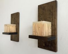 Rustic wood wall sconces/ set of 2 by BlackIronworks on Etsy