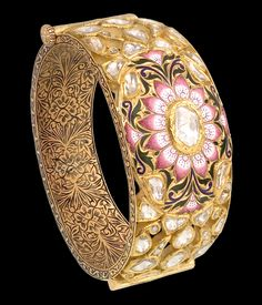 Intricate and refined enamel and setting work can be appreciated in this bangle by Sunita Shekhawat.