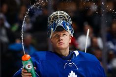 TORONTO, ON - JANUARY 10: Frederik Andersen #31 of the Toronto Maple Leafs squirts water during a break in play against the Ottawa Senators during the third period at the Air Canada Centre on January 10, 2018 in Toronto, Ontario, Canada. (Photo by Kevin Sousa/NHLI via Getty Images)