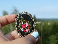 Hand embroidered brooch. Retro brooch. by EmbroideredJewerly