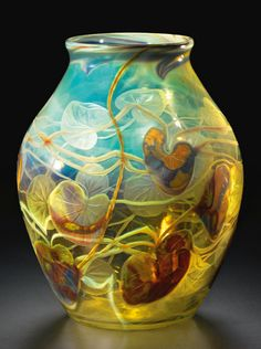 Tiffany Studios, CARVED CAMEO PAPERWEIGHT LILY PAD VASE, engraved L.C.T./W.724, favrile glass, circa 1900-1903,